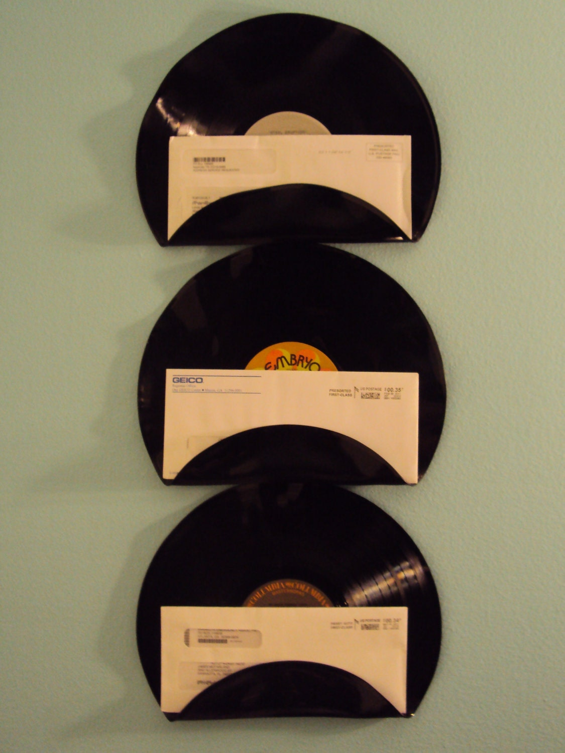 repurposed upcycled vinyl record mail holders set of 3. Black Bedroom Furniture Sets. Home Design Ideas