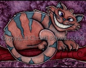 Cheshire Cat Alice in Wonderland Fantasy Art watercolor painting matted 5 x 7 print