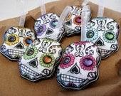 Sugar Skulls Christmas Tree Ornament Set Day of the Dead Dia De Los Muertos