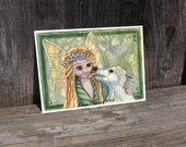 Fairy and Puppy Dog Fantasy Art Sticker or ACEO print Watercolor ATC Best Friends