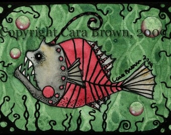 Angler Fish painting in watercolor matted print red green black