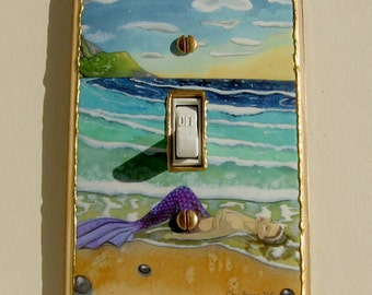 Mermaid light switch plate cover Art Tropical Beach upcycled