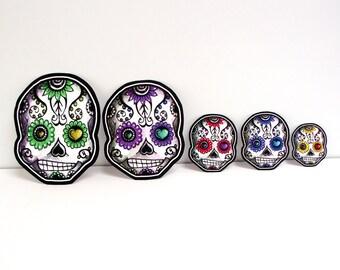 Sugar Skull Family Car Window Sticker Set Vinyl Day of the Dead Decals - Set of 3 - Mom, Dad, Kid - add additional kids