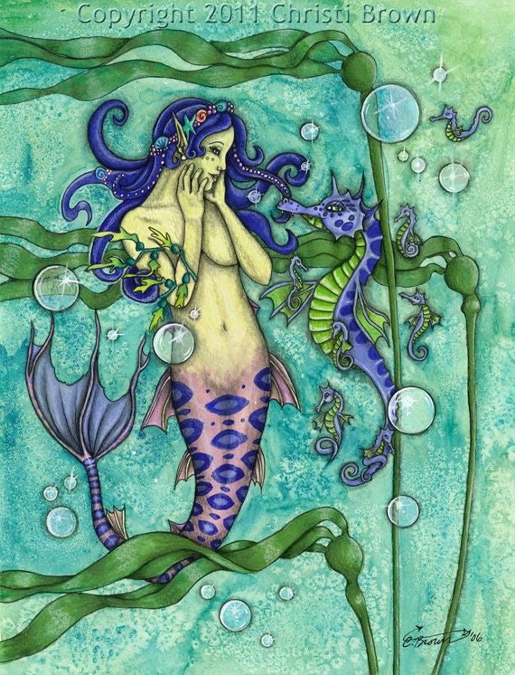Mermaid Seahorse Watercolor Fantasy Art Print 11 x 14 Recycled paper Matted Aqua
