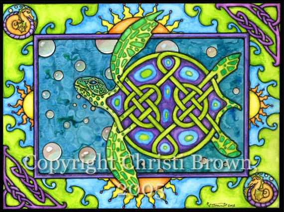 Sea Turtle Celtic Knotwork Painting Blank Greeting Card or Art Print