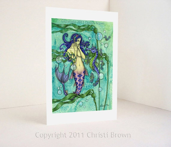 Mermaid Seahorse Greeting Card Recycled Paper Fantasy watercolor painting Fine Art print