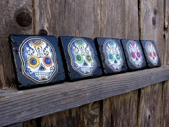Sugar Skulls Tile Coaster Set Day of the Dead