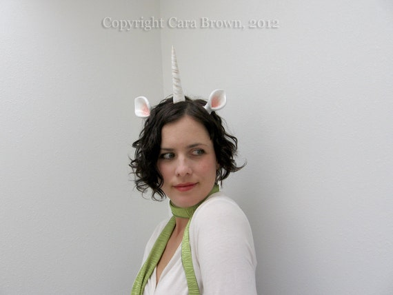 Unicorn Horn Costume headband with ears White Fantasy accessory polymer clay