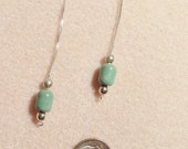 Sale - Natural Green Turquoise Sterling Silver Threader Earrings