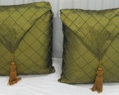 Medium Olive Green Tasseled Silk Throw Pillows