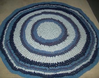 Ocean Blue Round Fabric Crochet Upcycled Rag Rug
