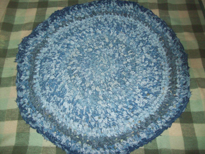 Crocheting Rag Rugs : Melmac Denim Crochet Round Upcyled Rag Rug by melmac84 on Etsy