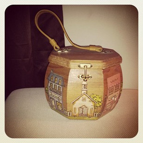 Wonderful Unique 1960's Decoupage Octagon Wood Box Purse Handbag