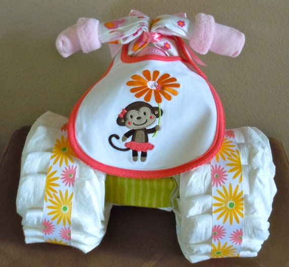 Items Similar To Monkey Tricycle Diaper Cake For Baby Girl