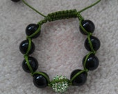 Beaded bracelet with center disco ball pave crystal bead