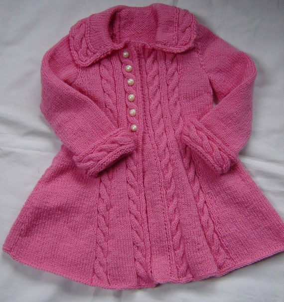 Baby Girls Toddler Sweater Coat Swing Style Hand Knit Crochet