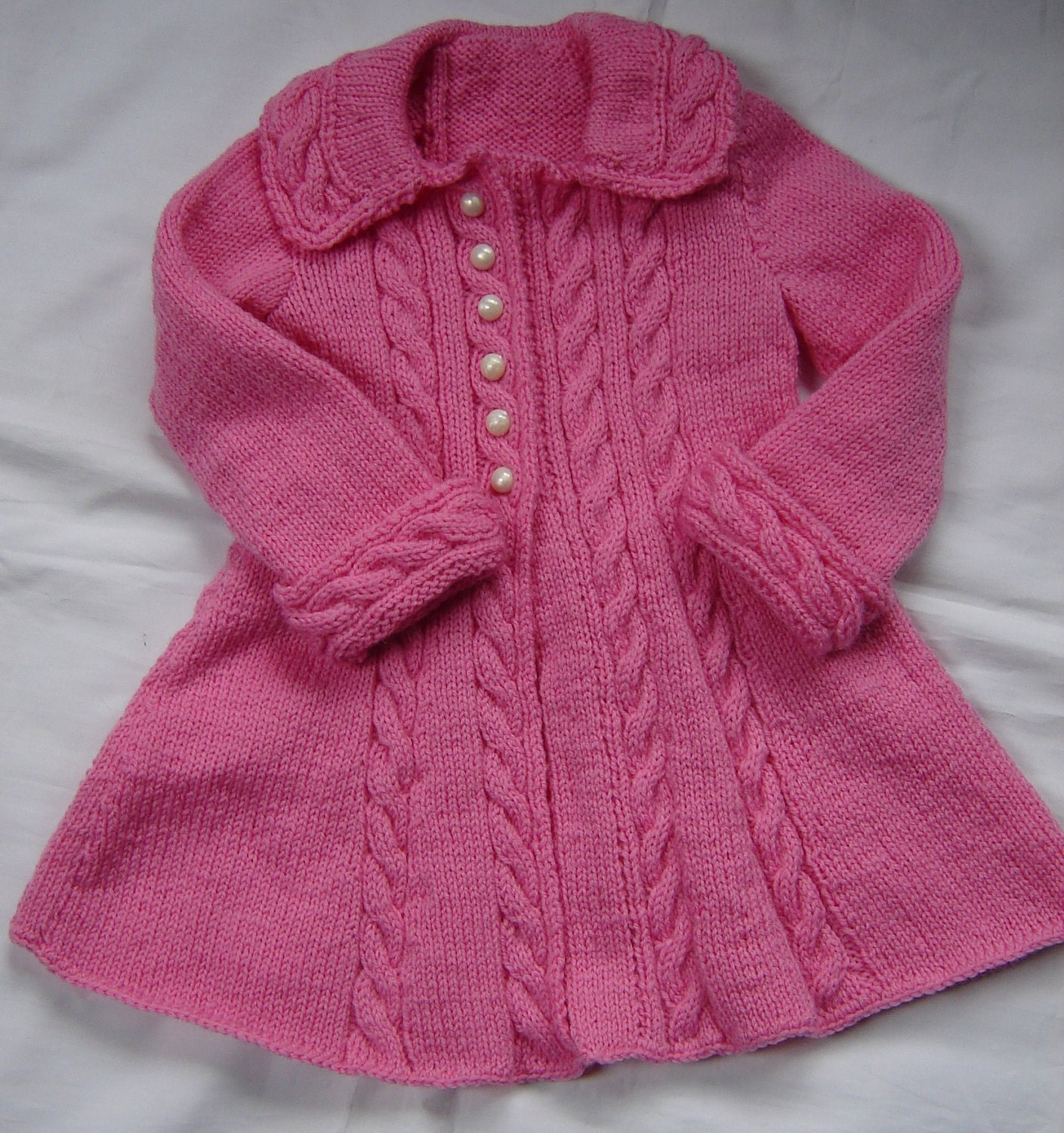 Toddler Cardigan Knitting Pattern : Baby Girls Toddler Sweater Coat Swing Style Hand Knit Crochet