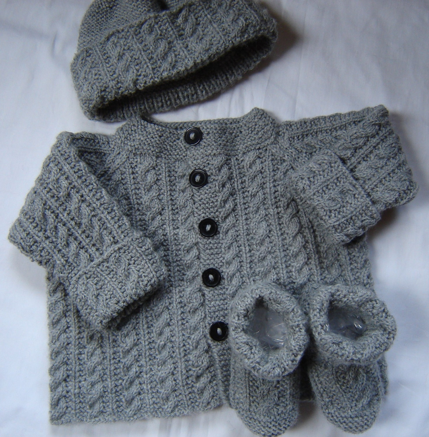 Hand Knitting Patterns For Babies : Baby Boy Sweater Set Hat Booties Hand Knit Gray Wool Size 3M