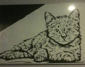 Cat 24x36 Black India Ink painting