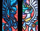 Twin Lancet Set - Luna and Celestia Stained Glass Illustration
