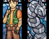 Twin Lancet Set- Brock and Onix OR Vulpix Stained Glass Illustration