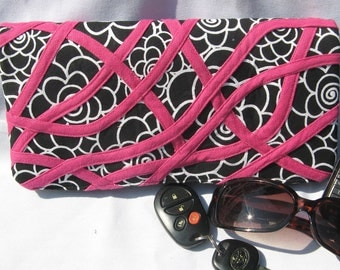 clutch purse bag in black  with pink floral the Jessica