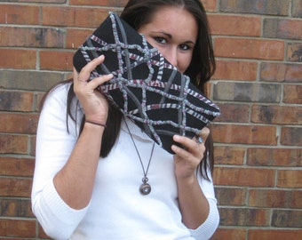 clutch purse with black gray purple and red