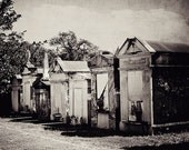 The Waiting Grounds- New Orleans Cemetery- Black and White Art- 8x10 Photograph