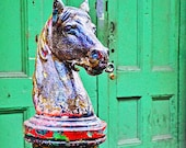 Hitching Horse and the Green Door- New Orleans Art- Green Doors- Travel Art