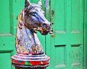 Hitching Horse and the Green Door- New Orleans Art- Green Doors- Travel Art
