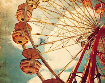 Going Around and Around- Matted Photograph- Vintage Ferris Wheel- Fine Art