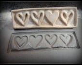 Handcarved  bisque Heart stamp for stamping on stoneware clay, polymer clay, metal clay, crafts, and fondart foods ( 0121 )