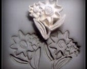 Sale 10.00 now 6.00 Bisque  flowers on stem with leaves stamp for  stoneware clay, polymer clay, metal clay, crafts, and fondant  ( 0159