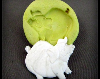 Pig mold, silicone mold, scrapbooking supplies, craft supplies mold, food silicone mold,clay mold, ( 4 s )