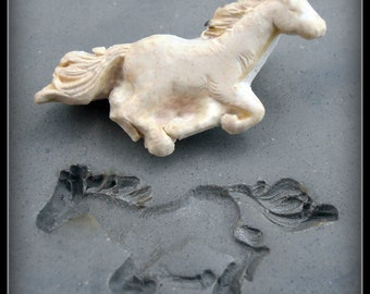 Bisque clay stamp,  running horse stamp - clay stamp , stamping tool - PMC clay , Polymer Clay, and Crafts. ( 56 )