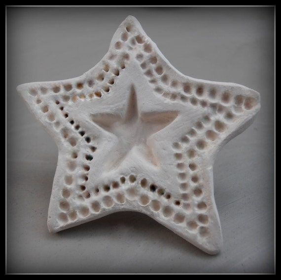 Bisque Clay Stamp,  Large Star  for stamping on stoneware clay, polymer clay, metal clay, crafts, and fondart foods ( 0087 )