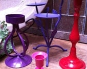 Home Decor, Upcycled, Vintage Candlesticks in Berry Colors, Set of 4