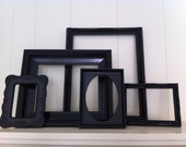 Home Decor, Black, Vintage Frames, Painted, Upcycled, Funky Decor