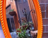 Upcycled Vintage Mirror in Tangerine, Funky Home Decor, Hollywood Regency
