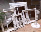 Distressed Vintage Frames in Off White, Shabby Chic, Chippy Frames, Upcycled, Painted, Wedding, Home Decor