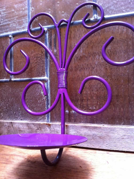 Upcycled Home Decor Wall Candle Holder in Purple