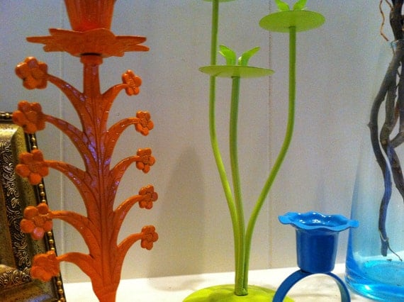 Candlesticks, Upcycled, Bright and Funky Home Decor, Trio