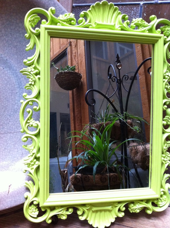 Upcycled Vintage Mirror In Lime Funky Home Decor By Fefifofun