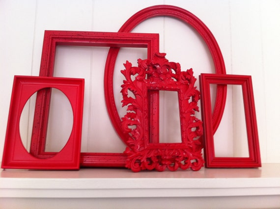Home Decor, Vintage Frames, Painted, Upcycled, Wall of Frames Shocking Red