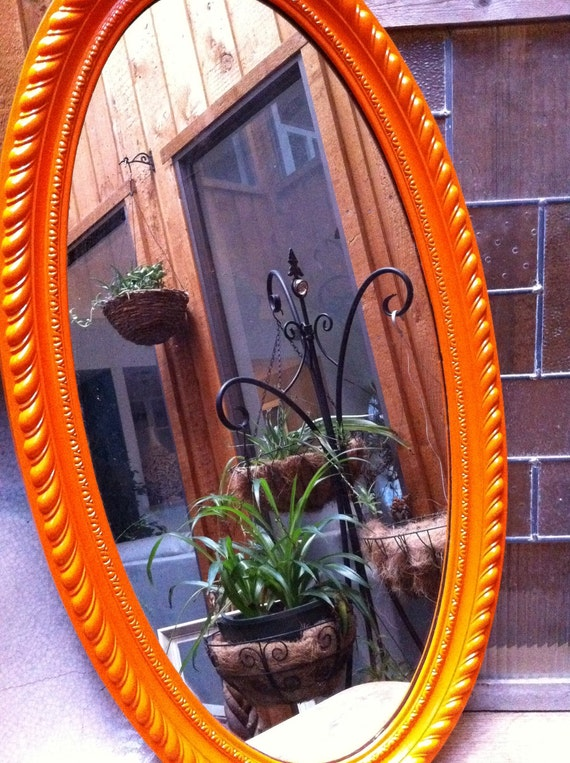 Upcycled vintage mirror in tangerine funky home decor for Funky home decor