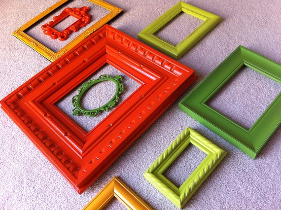Funky Bright Home Decor, Upcycled Vintage Frames, Hollywood Regency, Apartment Decor