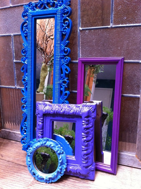 Tiny Home Designs: Upcycled Mirrors Little Boy Blue Purple Vintage By FeFiFoFun