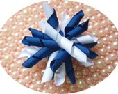 Navy Baby, Haircorker, Navy Blue, White, bow, hair clip, on alligator clip, custom colors available