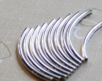 Wholesale RESTOCKED!! pack of 50 or 100 Tube Beads ,  38mm X 2mm  Curved S.S Plated