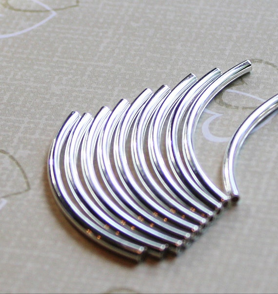 Ten 38mm X 2mm  Curved Sterling Silver Plated, Copper Plated or Black Oxide Tube Beads